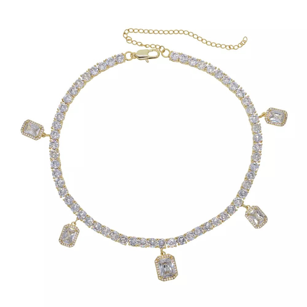 ICED ROCK CZ TENNIS CHOKER YELLOW GOLD