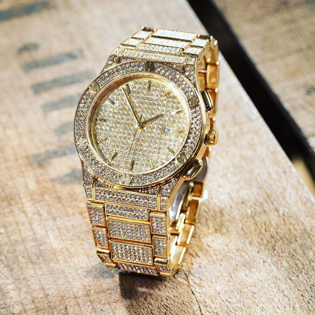 ROYAL 18K YELLOW GOLD Cz WATCH