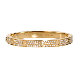 ICED BAND LᎾVE BANGLE IN YELLOW GOLD