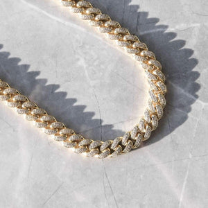 12MM CZ CUBAN LINK CHAIN IN 18K YELLOW GOLD