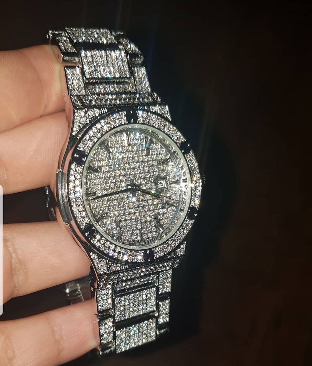 ROYAL 18K WHITE GOLD Cz WATCH