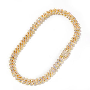 12MM DIAMOND PRONG CUBAN CHAIN 18K GOLD