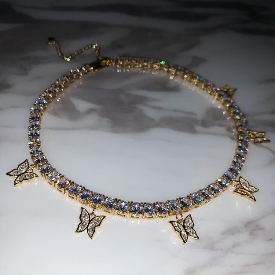 BUTTERFLY PREMIUM CZ TENNIS CHOKER YELLOW GOLD