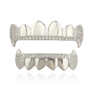 VAMPIRE CZ ICED OUT TEETH GRILLZ WHITE GOLD