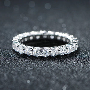 925.SOLID SILVER SINGLE LAYER DIAMOND BAND RING (12.40grams)