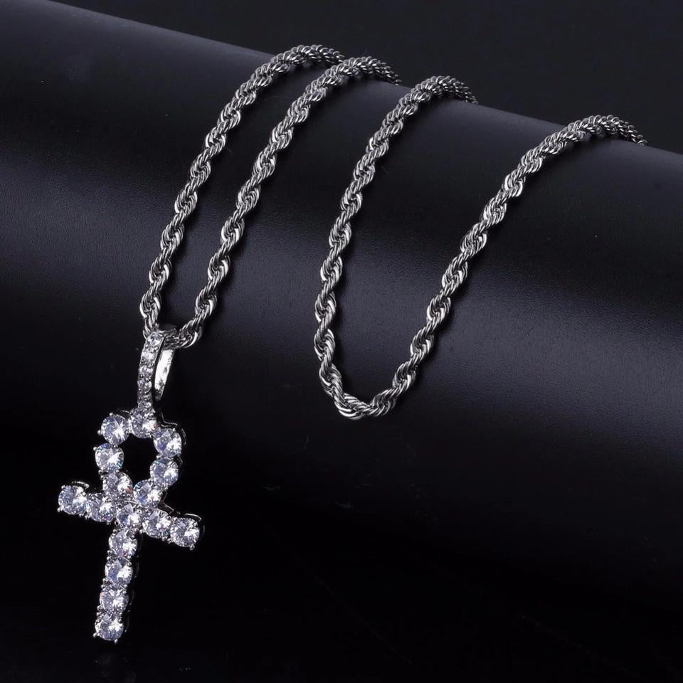 ANKH KEY PENDANT WHITE GOLD PLATED