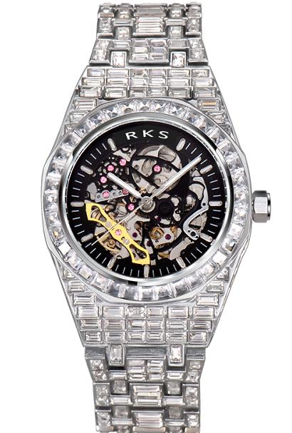 RKS BAGUETTE SKELETON WATCH-WHITE GOLD