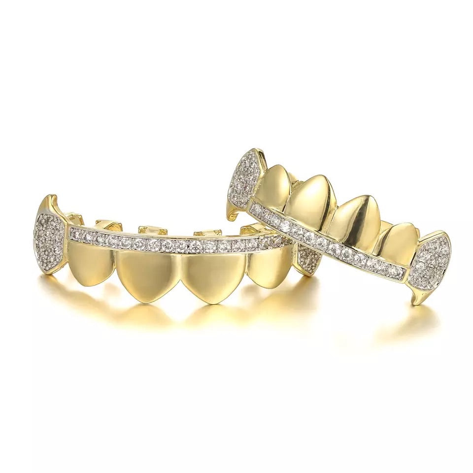 VAMPIRE CZ ICED OUT TEETH GRILLZ YELLOW GOLD