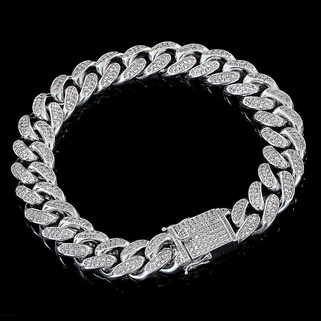 S925.SOLID SILVER 12MM CUBAN BRACELETS CZ DIAMOND