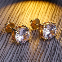 ROUND CUT STUD EARRINGS IN YELLOW GOLD