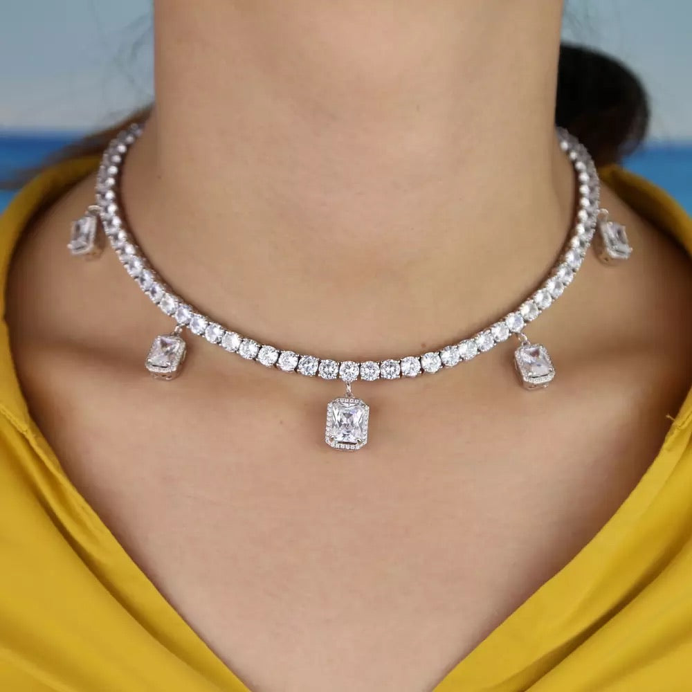 ICED ROCK CZ TENNIS CHOKER WHITE GOLD