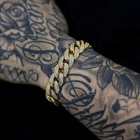 12MM CUBAN BRACELETS VVS DIAMOND SIMULATED YELLOW GOLD