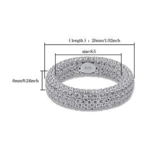 925.SOLID DIAMOND BAND SILVER  RINGS (15.45grams)