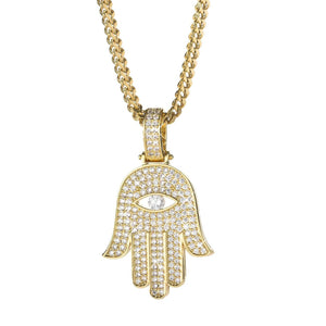 HAMSA HAND PENDANT YELLOW GOLD PLATED