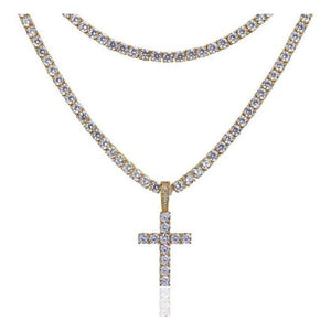 14K PREMIUM ICED CROSS PENDANT YELLOW GOLD