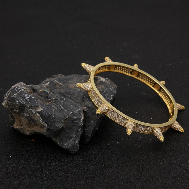 SPIKED BANGLE LAB DIAMOND SIMULATED YELLOW GOLD PLATED