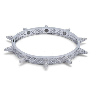 SPIKED BANGLE LAB DIAMOND SIMULATED WHITE GOLD PLATED