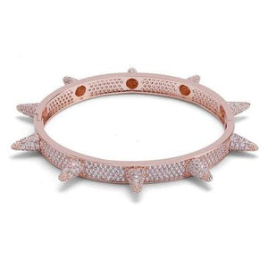 SPIKED BANGLE LAB DIAMOND SIMULATED ROSE GOLD PLATED