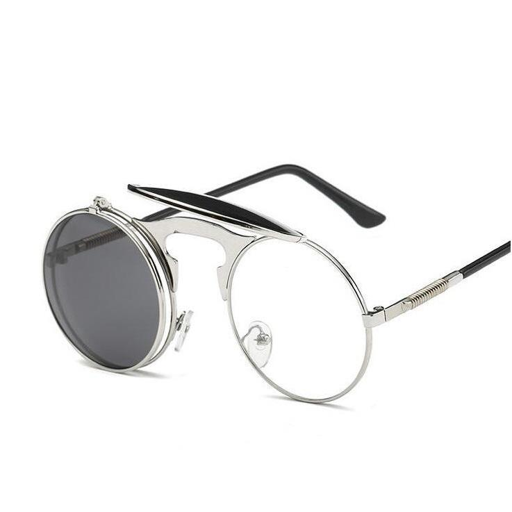 FLIP UP METAL ROUND CIRCLE FRAME STEAMPUNK SUNGLASSES (SILVER/SILVER LENS)