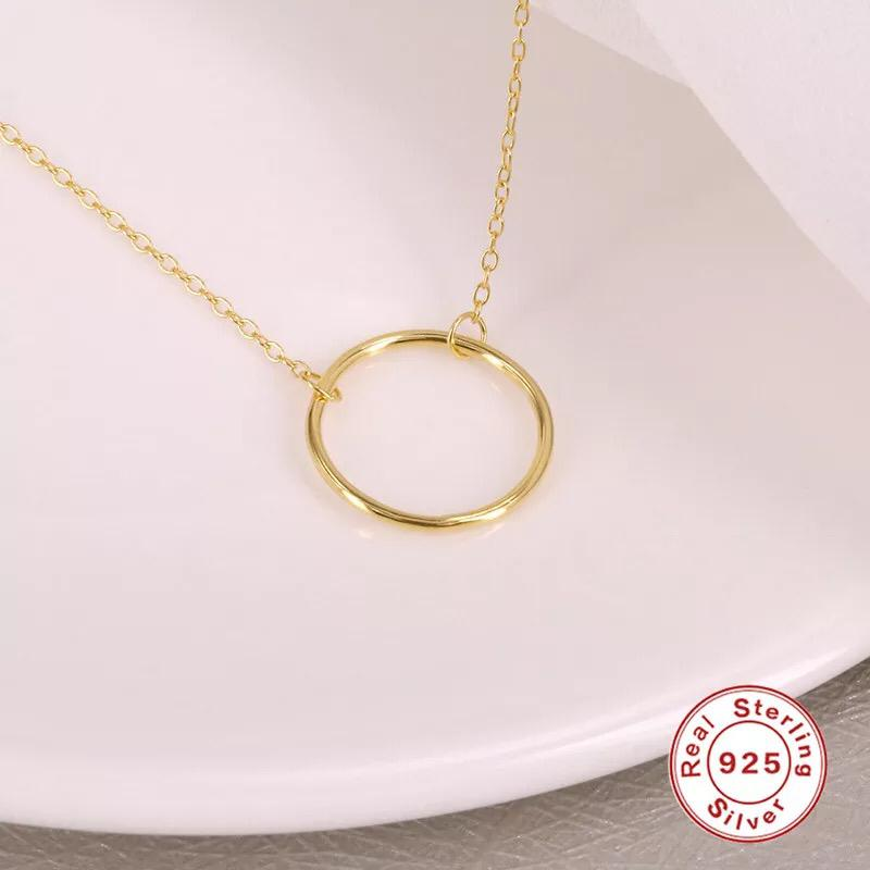 CIRCLE PENDANT CHAIN S925 SILVER 18k GOLD