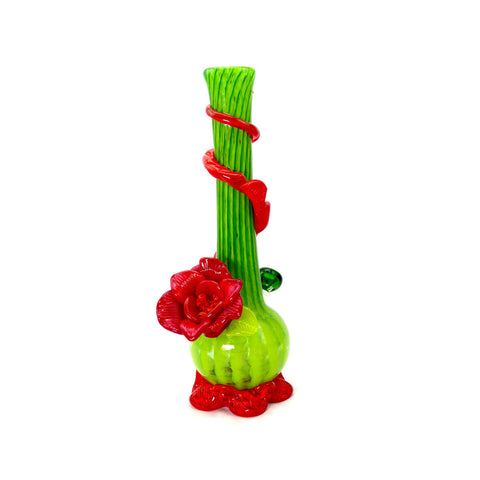 Medium w. Flower Softglas Bong (Grün-Rot)
