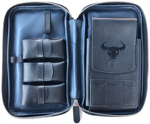 Metcalf USA Luxury Cigar Case - Black/Blue
