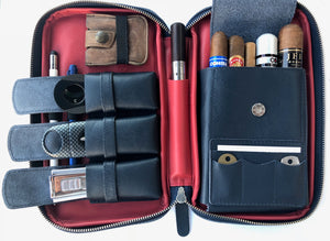 Metcalf USA Luxury Cigar Case - Blue/Red
