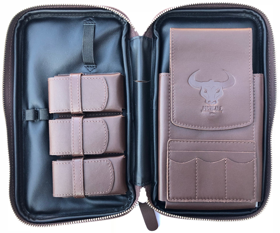 Metcalf USA Luxury Cigar Case - Brown/Black