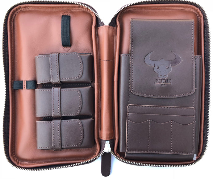 Metcalf USA Luxury Cigar Case - Brown/Tan