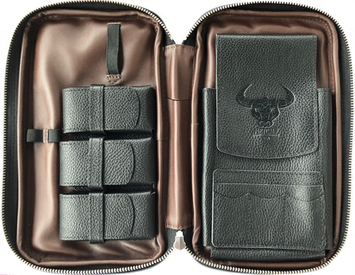 Metcalf USA Luxury Cigar Case - Black/Brown