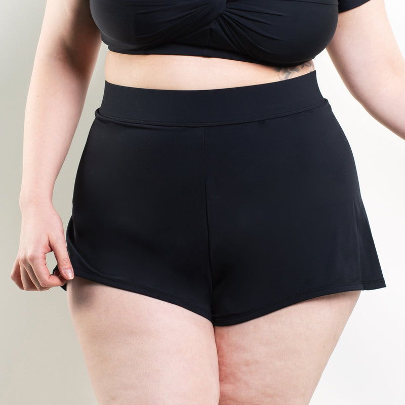 Baxter High Waisted Flare Shorts Black