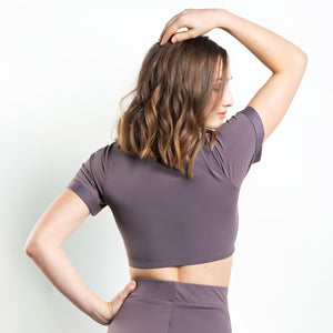 Baxter Knotted V-Neck Top Purple