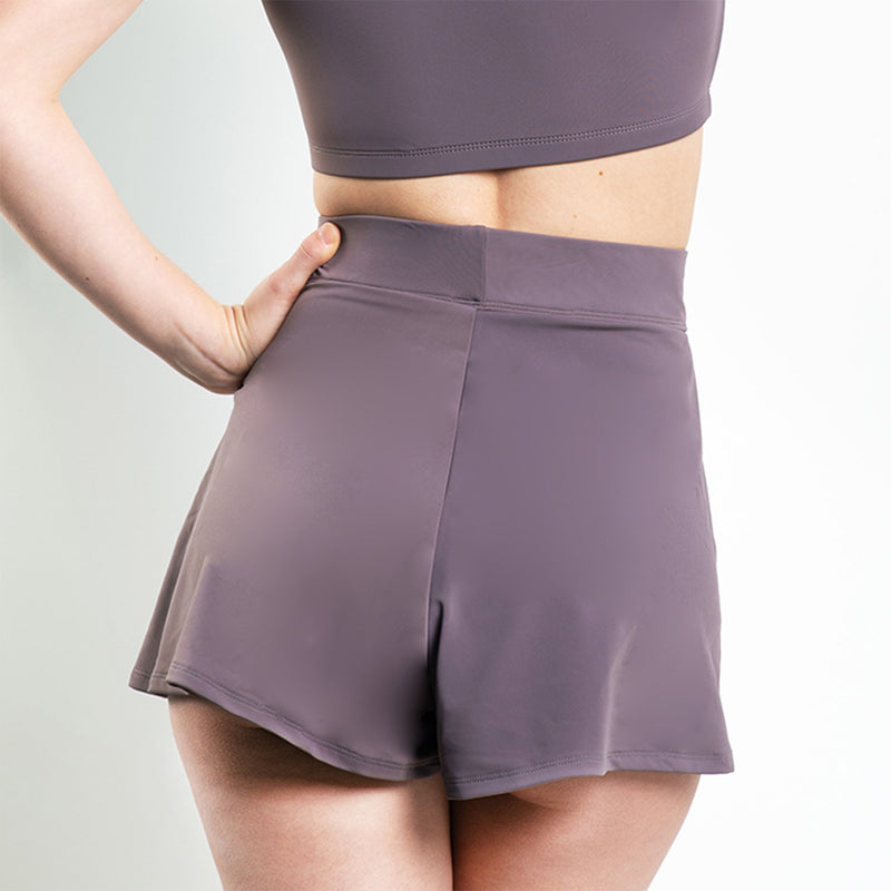 Baxter High Waisted Flare Shorts Purple