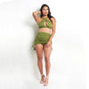 Ellanora Cross Front Halter Top Green
