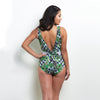 Harriet Knotted Plunge One Piece Tropical Gingham