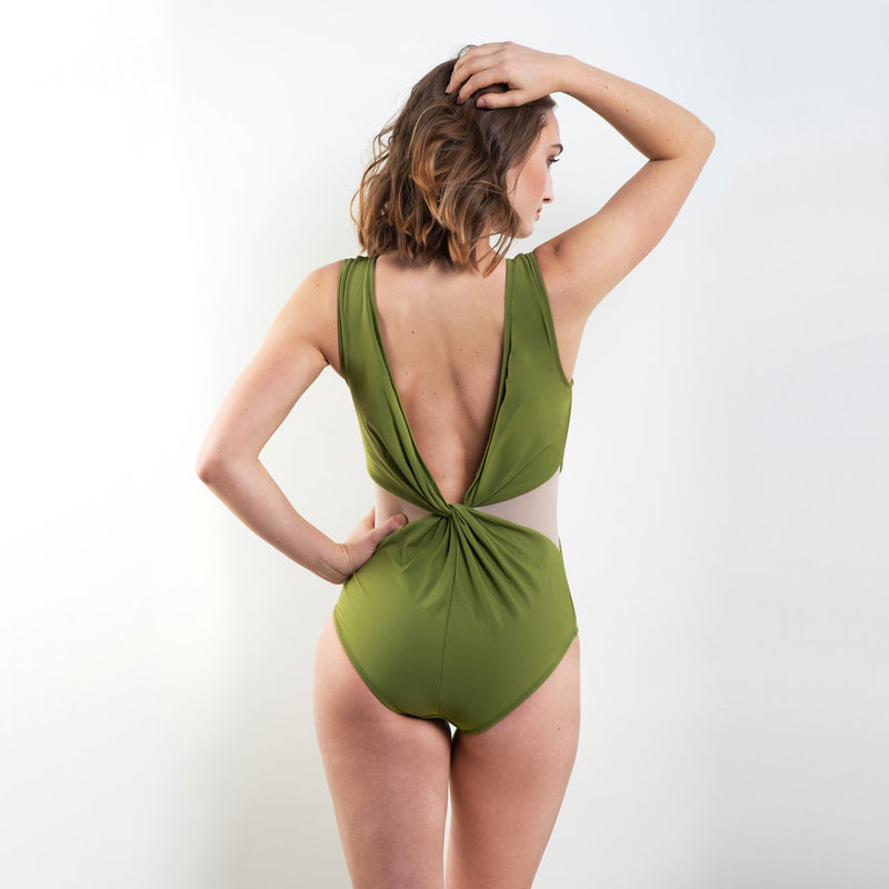 Harriet Knotted Plunge One Piece Green