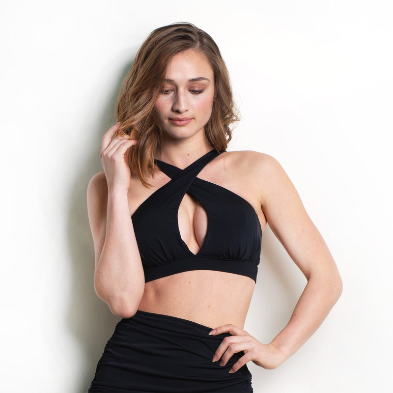 Ellanora Cross Front Halter Top Black