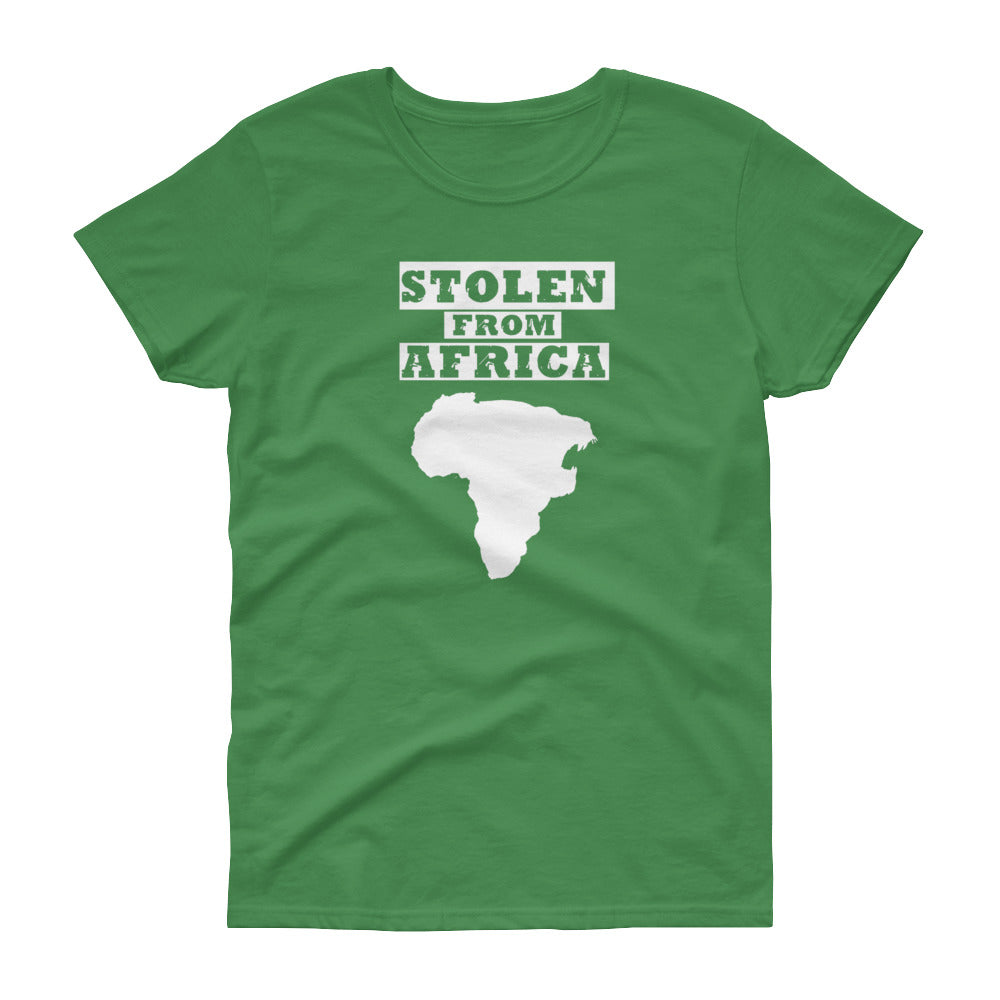 Stolen From Africa T-shirt -Womans  Jamaica Green