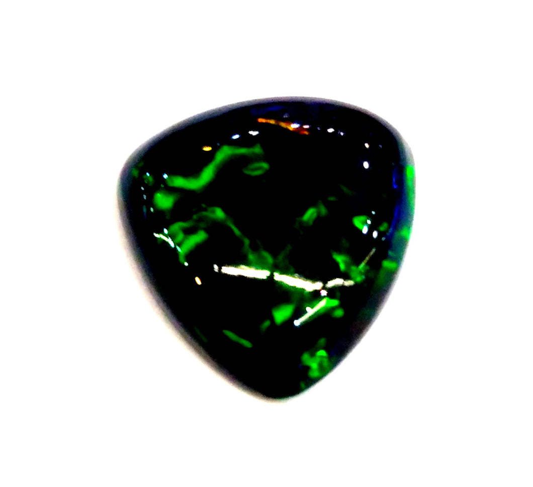 Black opal loose gemstone green play of colors pear shape cabachon - Redstargems