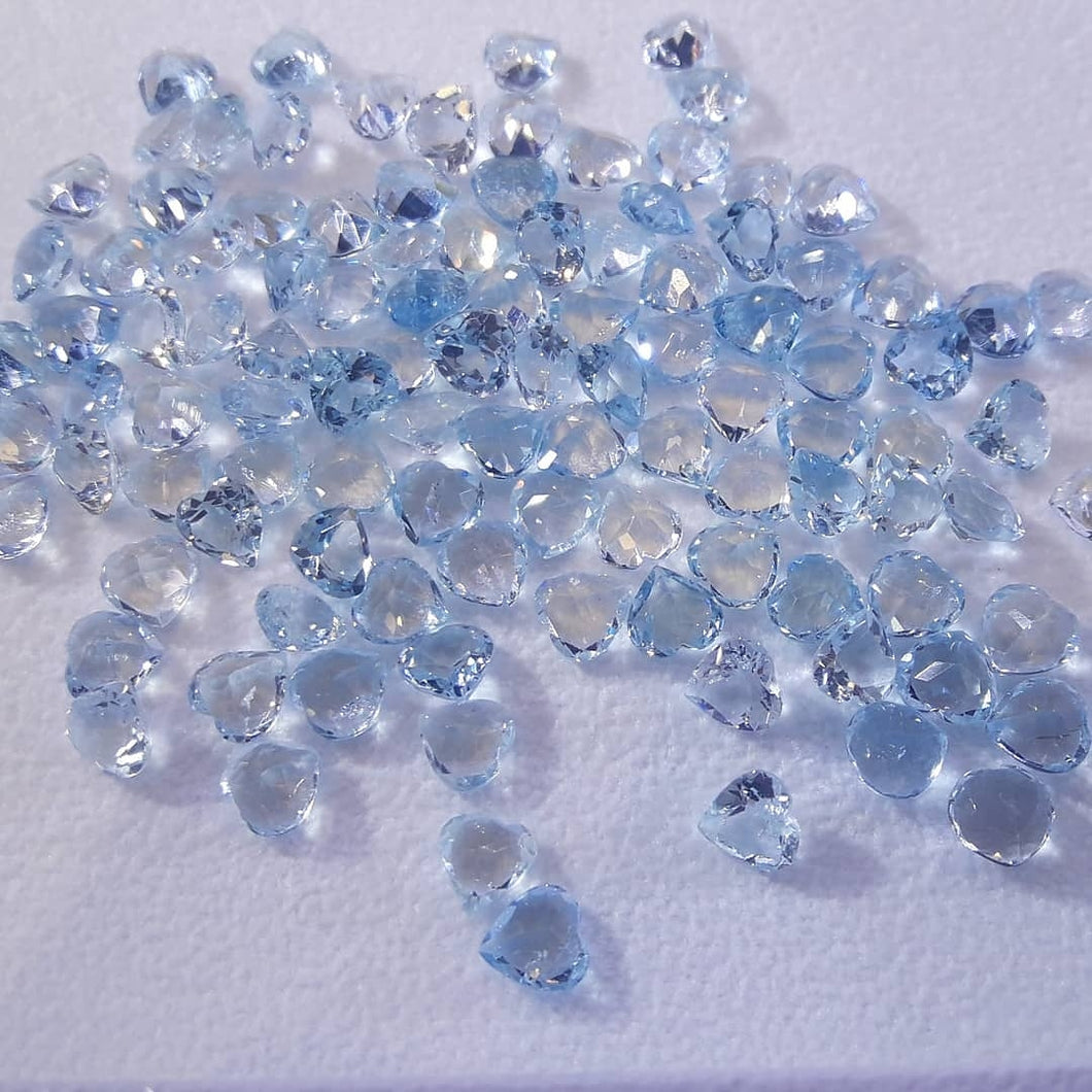 Cute Hearts Of Natural Aquamarine Loose Gemstone - Redstargems