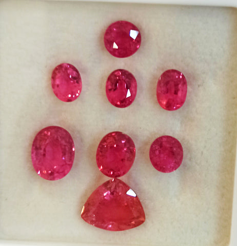 Rubellite gemtones lot 13.30 carats intense reddish pink colours