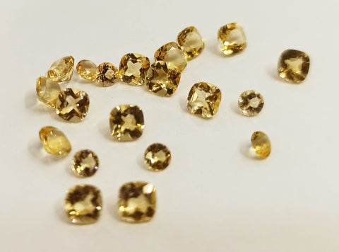 Natural citrine loose gemstones lot cushion and round 4 mm and 3mm sizes