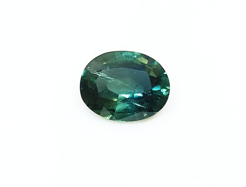 Natural teal green sapphire loose gemstone 1.15 carats Madagascar origin 7 X 5 mm