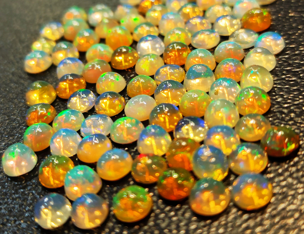 Natural opal loose gemstone round cabochon 5 mm size each strong play of color top quality