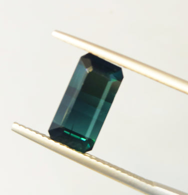 Natural blue tourmaline gemstone emerald cut 11 X 6 mm