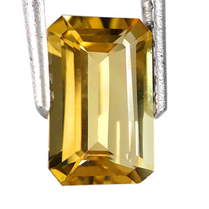 Yellow beryl loose gemstone octagon cut 1.60 carats bright yellow
