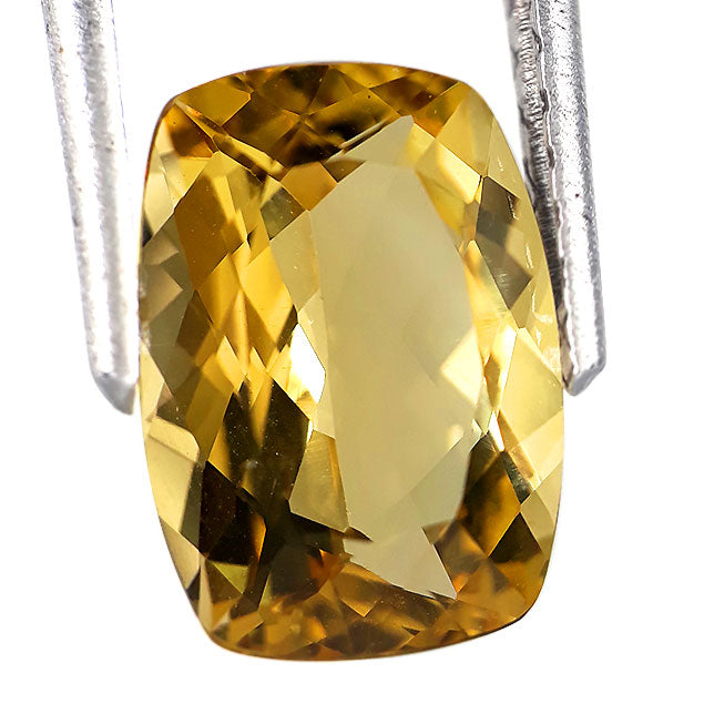 2.70 carats rectangular cushion cut intense yellow colour natural beryl loose gemstone