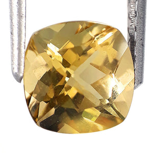 2.00 carats natural yellow beryl loose gemstone cushion cut 8 x 8 mm