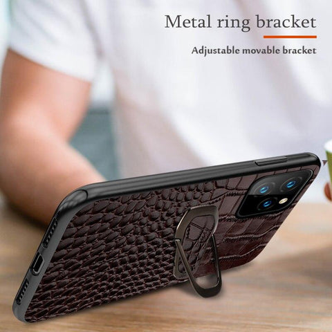 Metal Kickstand iPhone Leather Case