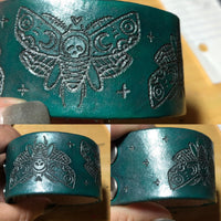 Death Moth Engraved Leather Cuff